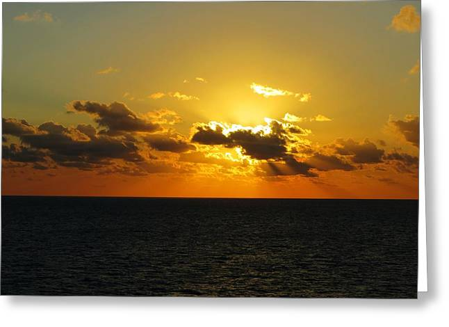 Coco Cay Greeting Cards - Golden Rays Sunset Greeting Card by Jennifer Wheatley Wolf