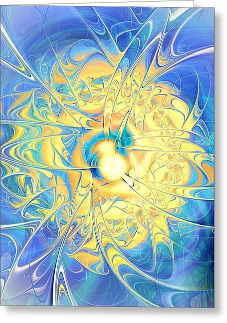 Feng Shui Art Mixed Media Greeting Cards - Golden Reflection Greeting Card by Anastasiya Malakhova