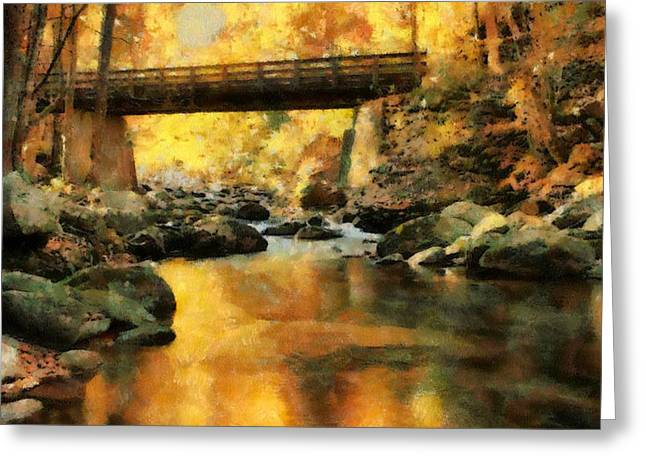 Reflections In River Greeting Cards - Golden Reflection Autumn Bridge Greeting Card by Dan Sproul