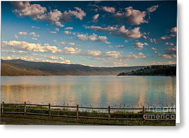 Golden Reflection On Lake Cascade Greeting Card by Robert Bales