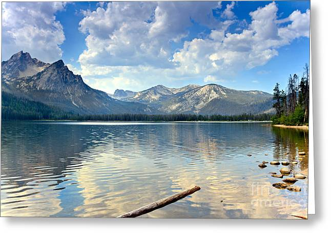 Haybales Greeting Cards - Golden Reflections On Stanley  Lake Greeting Card by Robert Bales