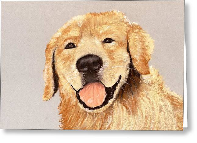 Breeds Pastels Greeting Cards - Golden Retriever Greeting Card by Anastasiya Malakhova