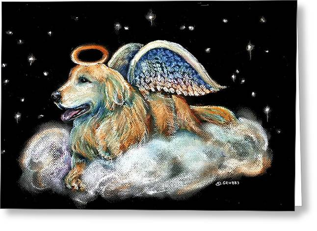 Heavens Pastels Greeting Cards - Golden Retriever Angel Bear Greeting Card by Darlene Grubbs