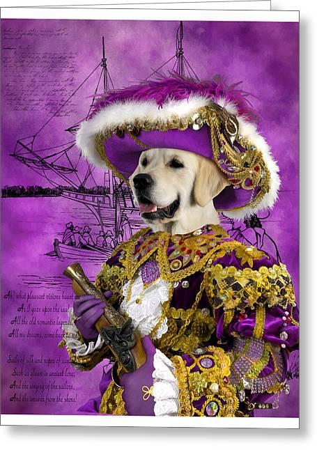 Retriever Prints Greeting Cards - Golden Retriever Art Canvas Print - Pirate Greeting Card by Sandra Sij