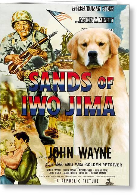 Retriever Prints Greeting Cards - Golden Retriever Art Canvas Print - Sands of Iwo Jima Movie Poster Greeting Card by Sandra Sij