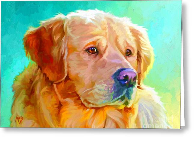 Retriever Prints Digital Art Greeting Cards - Golden Retriever Art Greeting Card by Iain McDonald