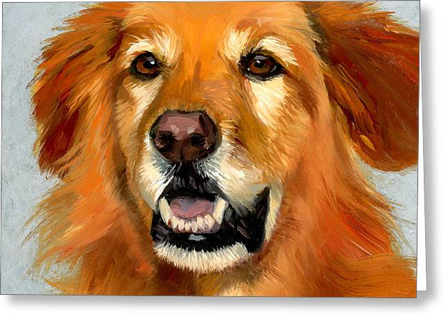 Dog Portraits Greeting Cards - Golden Retriever Dog Greeting Card by Alice Leggett