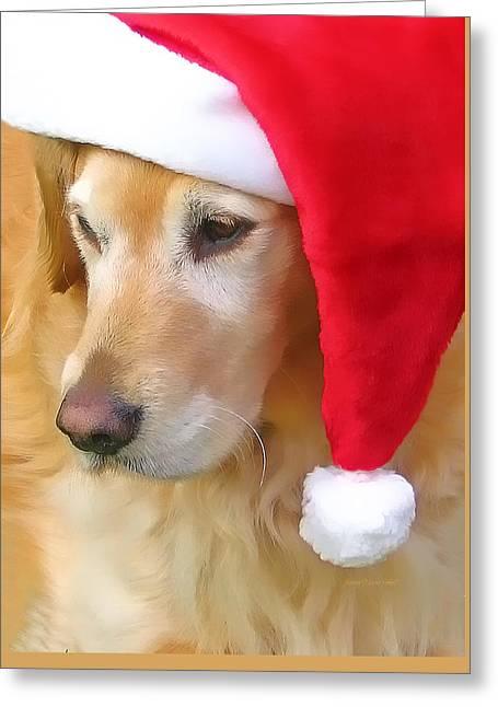 Golden Retriever Cards Greeting Cards - Golden Retriever Dog in Santa Hat  Greeting Card by Jennie Marie Schell