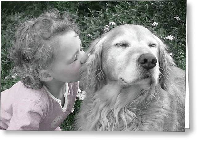 Grey And Pink Greeting Cards - Golden Retriever Dog Kiss from a Little Girl Greeting Card by Jennie Marie Schell