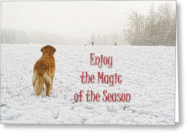 Dog Christmas Card Greeting Cards - Golden Retriever Dog Magic of the Season Greeting Card by Jennie Marie Schell