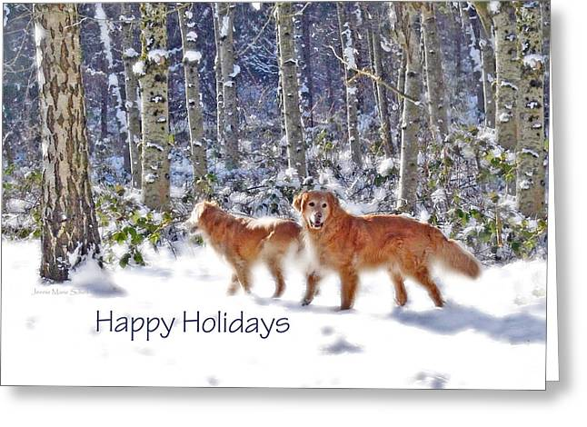 Dog Christmas Card Greeting Cards - Golden Retriever Dogs in Winter   Greeting Card by Jennie Marie Schell
