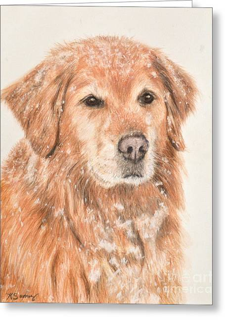 Doggy Pastels Greeting Cards - Golden Retriever in Snow Greeting Card by Kate Sumners
