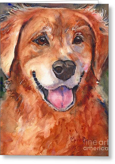 Yellow Dog Greeting Cards - Golden Retriever Dog in watercolor Greeting Card by Maria