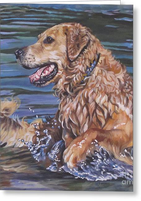 Puppies Paintings Greeting Cards - Golden Retriever  Greeting Card by Lee Ann Shepard