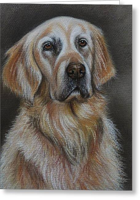 Puppies Pastels Greeting Cards - Golden Retriever Greeting Card by Lucy Deane
