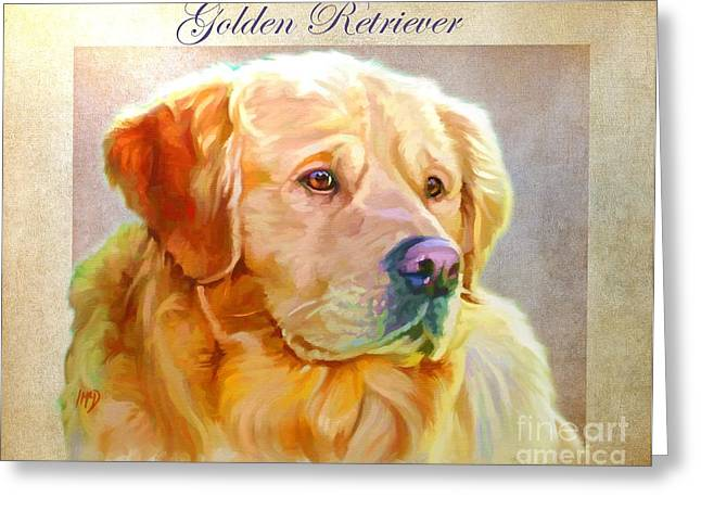 Retriever Prints Digital Art Greeting Cards - Golden Retriever Painting Greeting Card by Iain McDonald