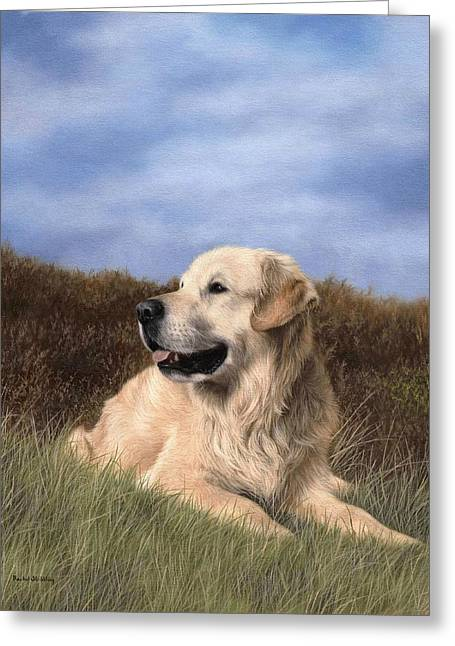 Dog Portraits Greeting Cards - Golden Retriever Painting Greeting Card by Rachel Stribbling