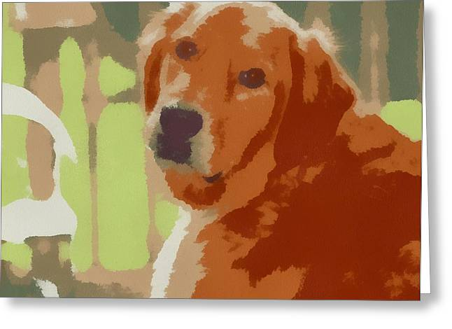 Puppy Dog Eyes Greeting Cards - Golden Retriever Profile Greeting Card by Dan Sproul