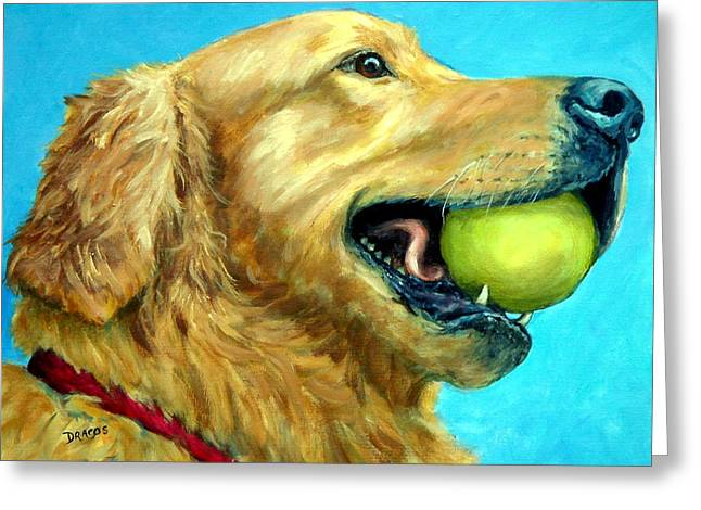 Golden Retriever Profile With Tennis Ball Greeting Card by Dottie Dracos