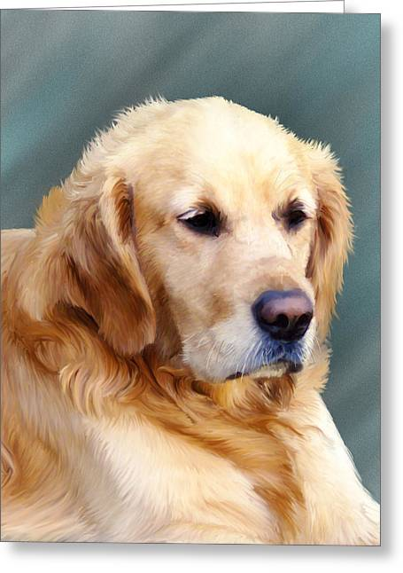 Retriever Prints Digital Art Greeting Cards - Golden Retriever  Greeting Card by Sarah Dowson