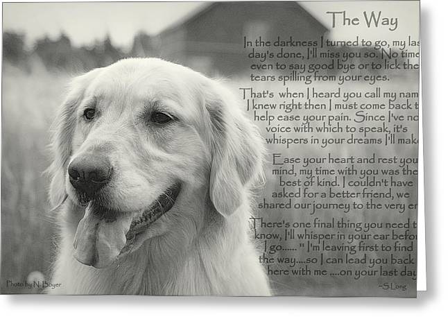 Animal Paw Print Greeting Cards - Golden Retriever The Way Greeting Card by Sue Long