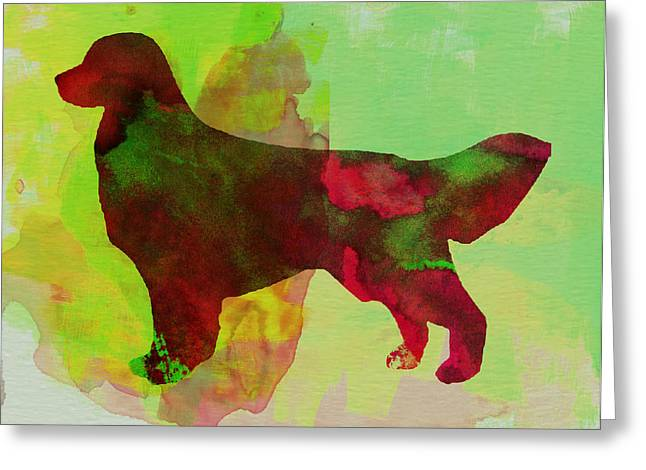 Puppies Paintings Greeting Cards - Golden Retriever Watercolor Greeting Card by Naxart Studio