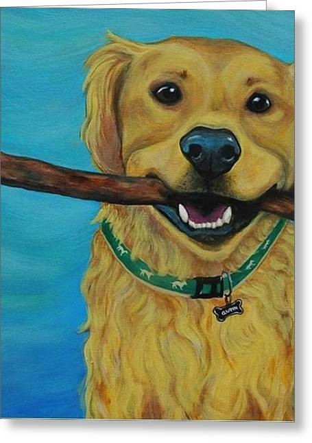 Custom Commissioned Pet Portrait From Photos Greeting Cards - Stay Golden Greeting Card by Lauren Hammack