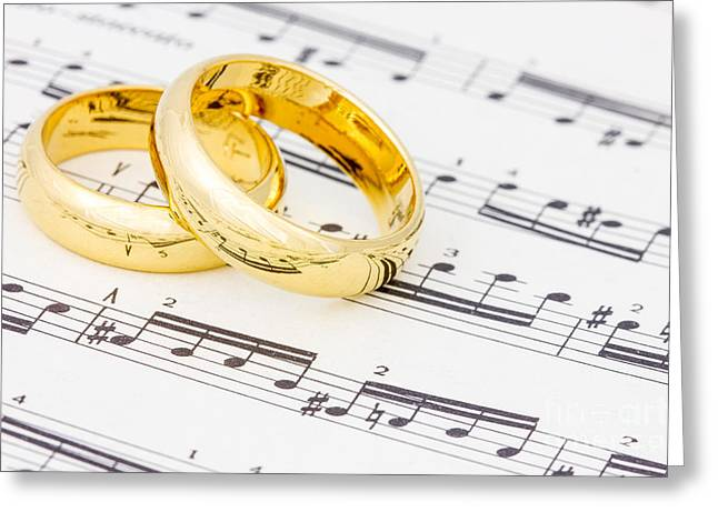 Metal Sheet Greeting Cards - Golden rings on the  sheet music Greeting Card by G J