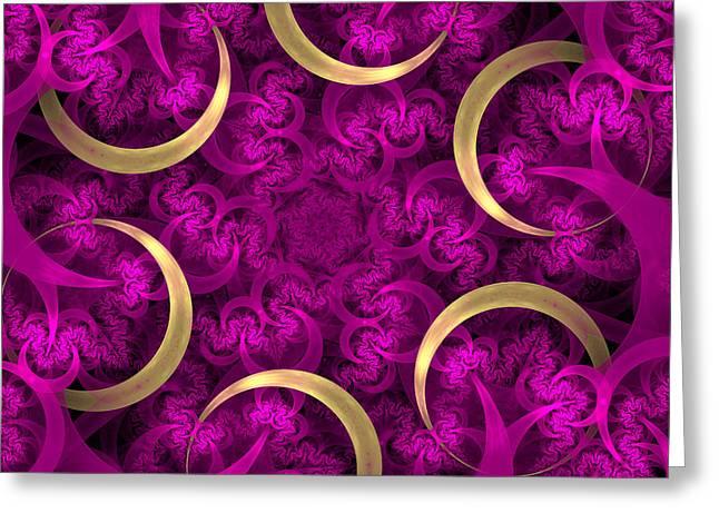 Geometric Digital Art Greeting Cards - Golden Rings Greeting Card by Sandy Keeton