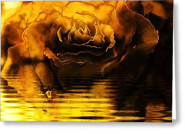 Eam Greeting Cards - Golden Rose on the Lake Greeting Card by Elizabeth McTaggart