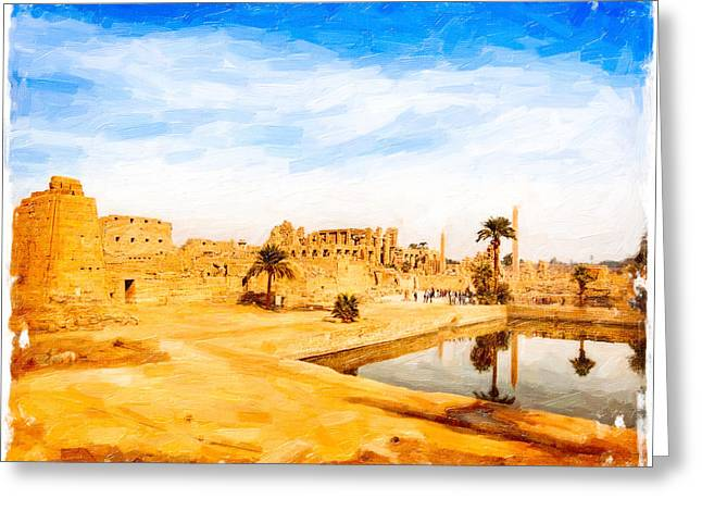 Golden Ruins Of Karnak Greeting Card by Mark E Tisdale