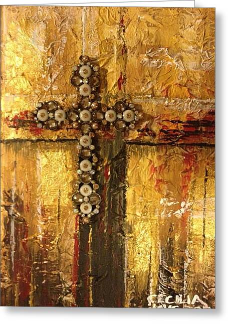 Eternal Life Mixed Media Greeting Cards - Golden rule Greeting Card by Cecilia Putter