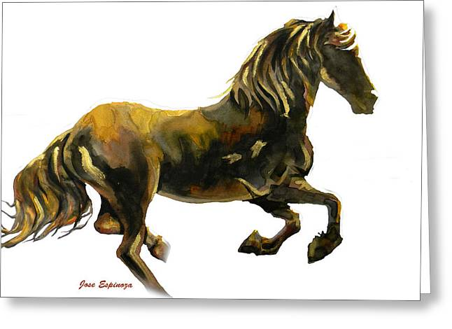 Amazing Drawings Greeting Cards - GOLDEN RUNNER in white Greeting Card by Jose Espinoza