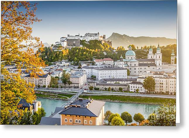 Recently Sold -  - City Lights Greeting Cards - Golden Salzburg Greeting Card by JR Photography