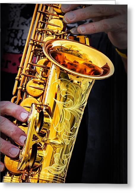Playing Musical Instruments Greeting Cards - Golden Sax Greeting Card by Bill Tiepelman