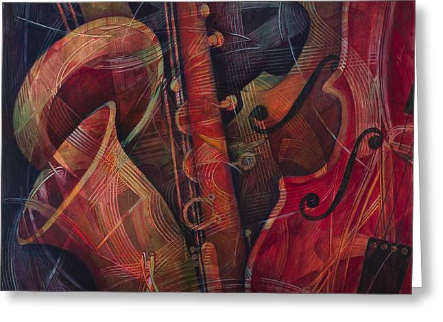 Double Bass Greeting Cards - Golden Sax Greeting Card by Susanne Clark
