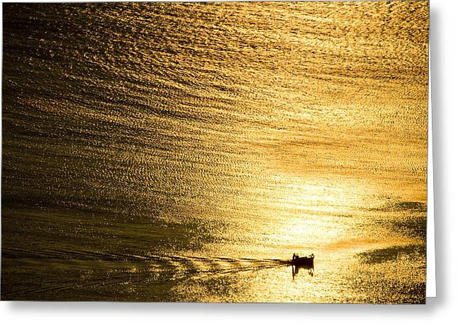 Water Vessels Pyrography Greeting Cards - Golden sea with boat at sunset Greeting Card by Raimond Klavins