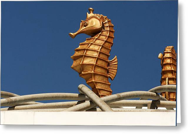 Sea Horse Greeting Cards - Golden Seahorses Greeting Card by Art Block Collections