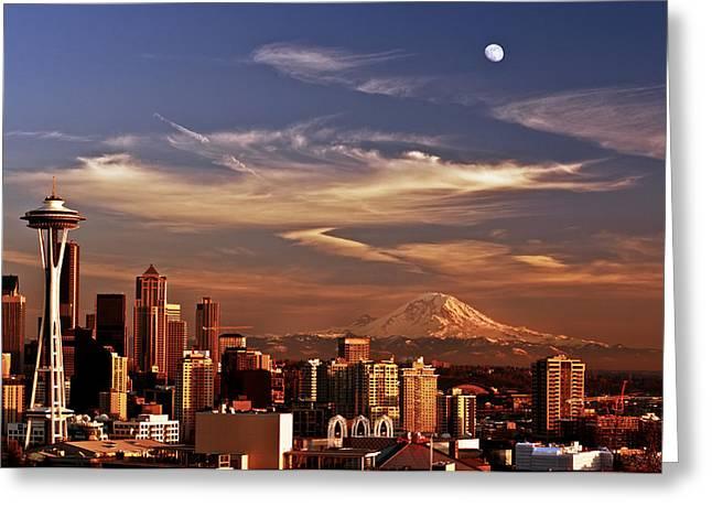 Darren Greeting Cards - Golden Seattle Greeting Card by Darren  White