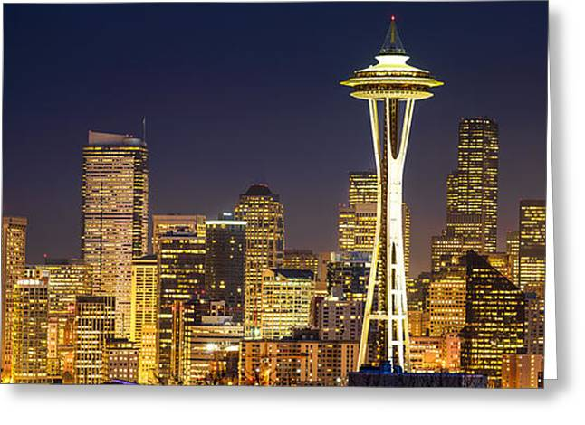 Winter Night Greeting Cards - Golden Seattle Night Greeting Card by Dan Mihai