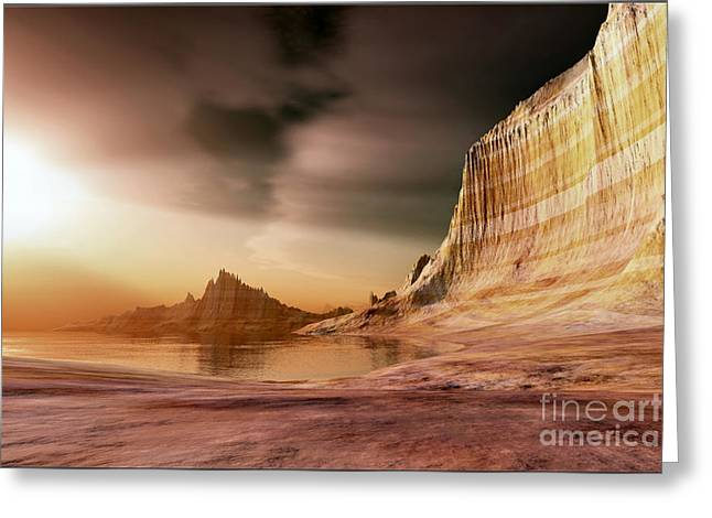 Beam Of Light Greeting Cards - Golden Shores Greeting Card by Corey Ford