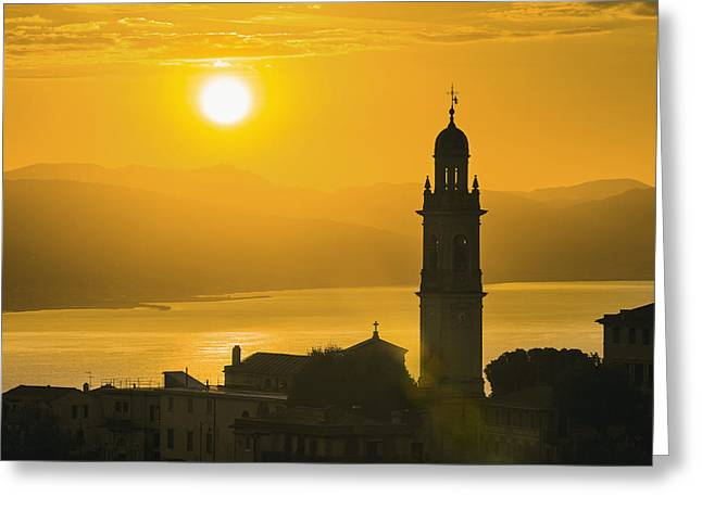 Italian Sunset Greeting Cards - Golden Sky At Dusk With Tower Greeting Card by Yves Marcoux