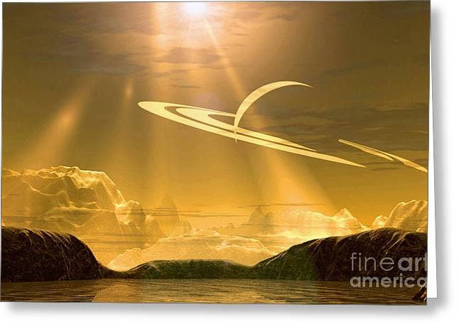Outerspace Greeting Cards - Golden Sky On Titan Greeting Card by Steve A Munsinger