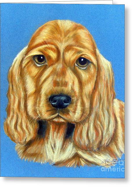 Spaniel Drawings Greeting Cards - Golden Spaniel Greeting Card by Julie Hull