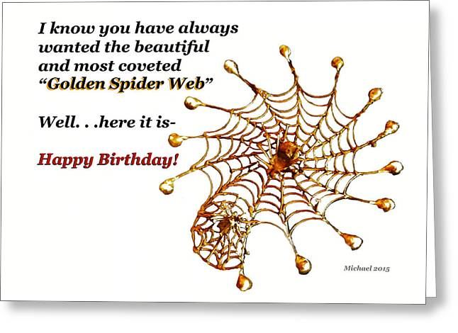Spider Web Greeting Cards - Golden Spider Web Birthday Card Greeting Card by Michael Shone SR