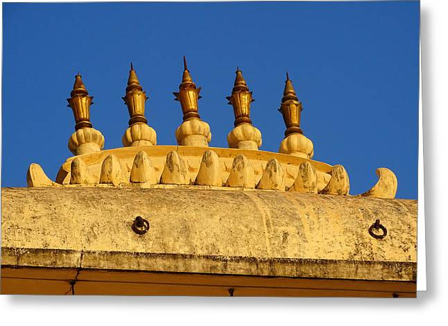 The Hills Greeting Cards - Golden Spires Udaipur City Palace India Greeting Card by Sue Jacobi