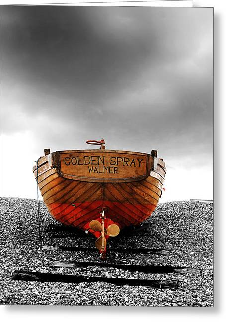Ships And Boats Greeting Cards - Golden Spray Greeting Card by Mark Rogan