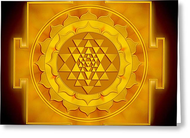 Sacred Digital Art Greeting Cards - Golden Sri Yantra Greeting Card by Dirk Czarnota