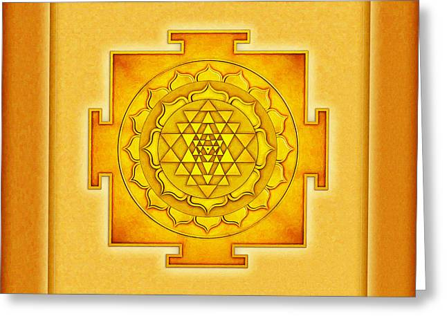 Energize Digital Greeting Cards - Golden Sri Yantra I I I Greeting Card by Dirk Czarnota