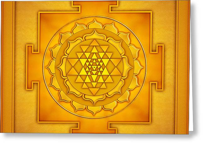 Sacred Digital Art Greeting Cards - Golden Sri Yantra II Greeting Card by Dirk Czarnota